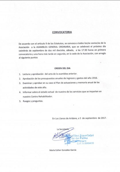 NEP. CONVOCATORIA ASAMBLEA GENERAL