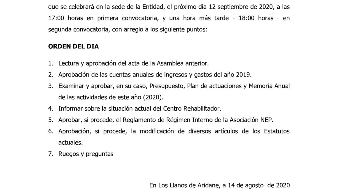 Convocatoria Asamblea General Asociación NEP