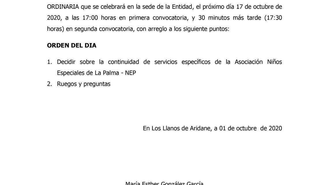 Convocatoria Asamblea General Extra-Ordinaria NEP